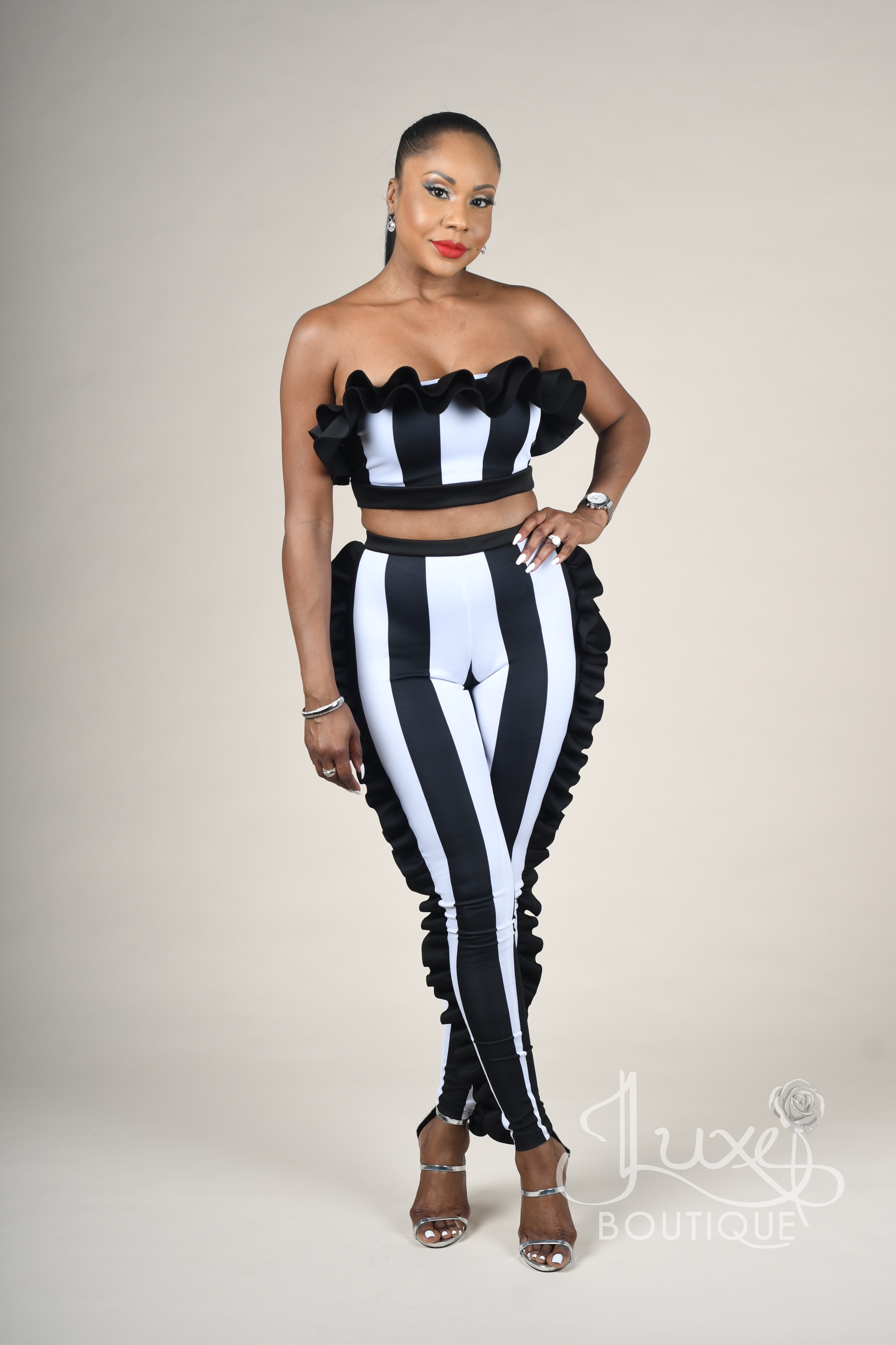5ba1fff15c KY-MOI BLACK AND WHITE STRIPE RUFFLE TWO-PIECE SET - Jluxe Boutique